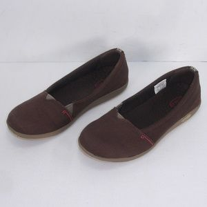 CHACO ELLETON BROWN CANVAS SLIP ON LOAFERS 6.5